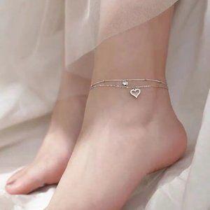 NEW 925 Sterling Silver DoubleHeart Ankle Bracelet